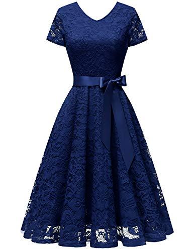 bridesmay Damen 50S Retro Spitzenkleid Kurzarm Elegant Brautjungfernkleid Abendkleider Navy 2XL