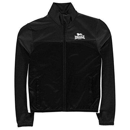 Lonsdale Jungen 2 Streifen Trainingsjacke Taschen Schwarz 9-10 Jahre