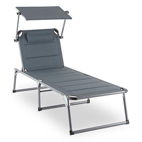Blumfeldt Amalfi Noble Gray Chaise longue (pare-soleil et rembourrage en mousse, dossier réglable 5 positions, pare-soleil, facile d'entretien) - gris