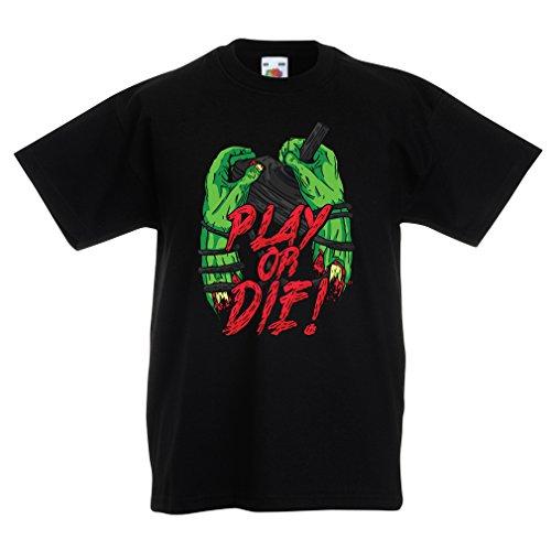 Kinder T-Shirt Spielen oder sterben - nur für Spieler! (3-4 Years Schwarz Mehrfarben)