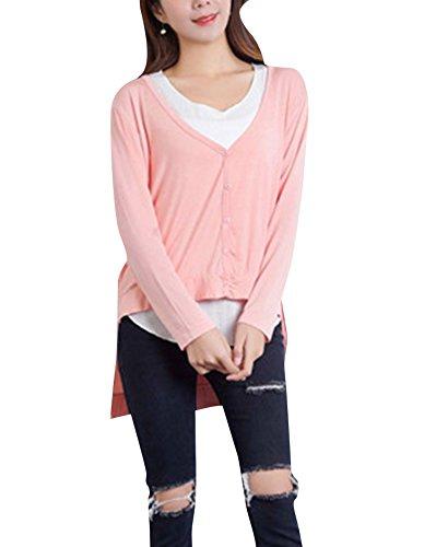 Bouton Col En V T-Shirt à Manches Longues Tops Chemisiers Blouses pour Femme pink