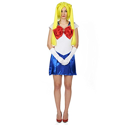 Sailor Girl Kleid Marine Kostüm Damen blau weiß rot für Sailor Moon Fans - (Jupiter Sailor Kostüm)