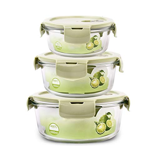 Brotdose Runder Bento Lunch Box Container 3-teiliges Set Glasisoliertes, auslaufsicheres Fach Tragbares Mikrowellengerät Teen School Office MUMUJIN (Color : Green) (Office Glas Lunch-box)