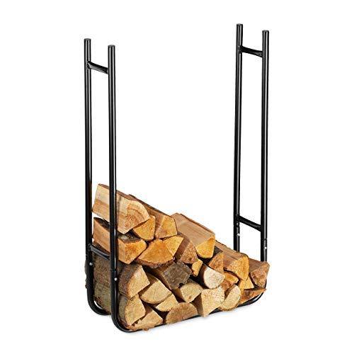 Relaxdays Kaminholzregal, schmal, aus Metall, Lagerung von Holz innen und außen, Brennholzregal HBT 90x60x20 cm, schwarz