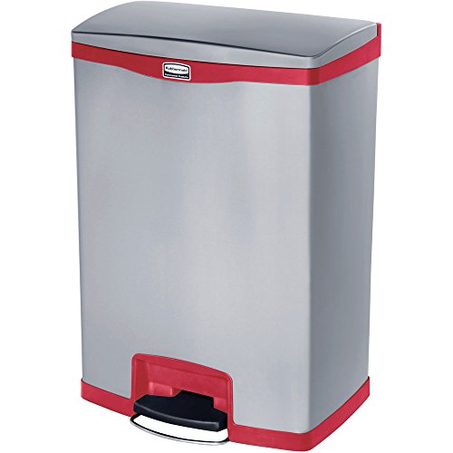 Rubbermaid Slim Jim 1901995 50 Litre Front Step Step-On Stainless Steel Wastebasket - Red (Rubbermaid Mülleimer Rot)