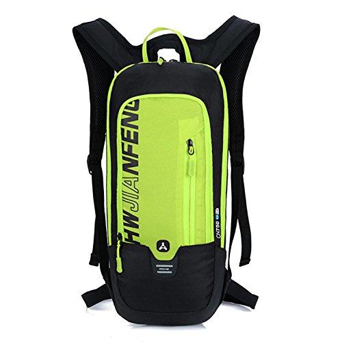 HWJF Reitradtasche Outdoor Wasserbeutel Fliegen & Wandern Tasche mit einem Helm Basketball Netz Yellow