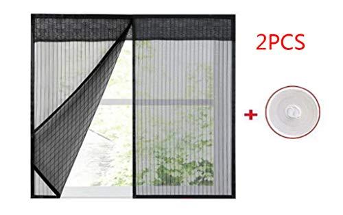 JLDN 2PCS Window Screen Mesh-Vorhang, magnetisch Automatisches Schließen Strapazierfähig Résistant à la déchirure, passend für mehrere Fenster,Black_80x150CM
