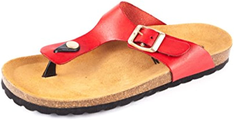 PLAKTON PL1-013 - Sandalias de Piel Lisa para Mujer Rojo Rojo 37 EU