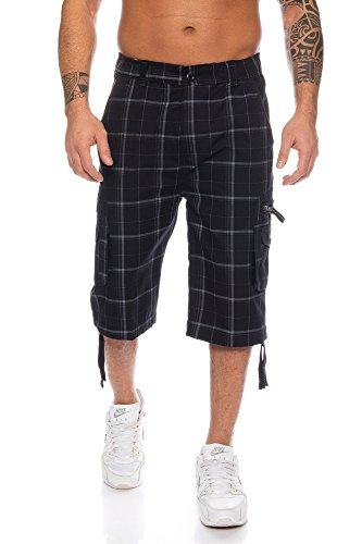 Schwarze Karo-hose (Raff&Taff Herren Bermuda Karo Shorts Caprihose Capri Badeshorts bis 6XL (L, Schwarz(330)))