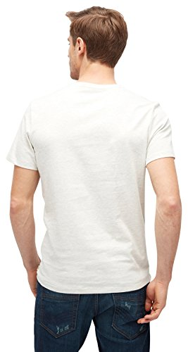 TOM TAILOR Herren T-Shirt Tee with Print Technique offwhite melange
