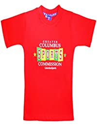 Sweet Angel Red color round neck tshirt with columbus sports printing on front for grils