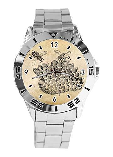 Vintage Honey Bee Custom Design Analog Armbanduhr Quarz Silber Zifferblatt Klassisch Edelstahl Band Damen Herren Armbanduhr