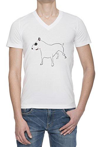 Cane Di Bull Terrier Uomo Bianco V Collo T-shirt Tutte Le Taglie | Men's White V Neck T-shirt Top