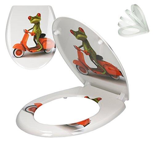 ECD Germany Premium Duroplast Toilettendeckel mit Soft-Close Absenkautomatik Frosch Roller Motiv