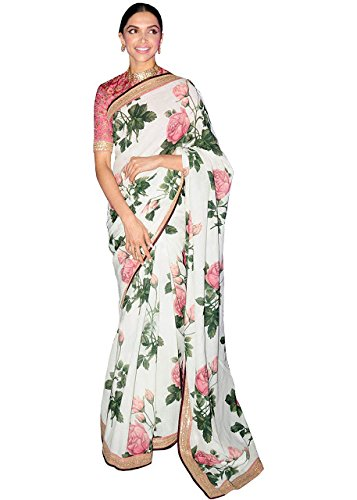 Deepika Padukone White Print Georgette Replica Saree  available at amazon for Rs.1375