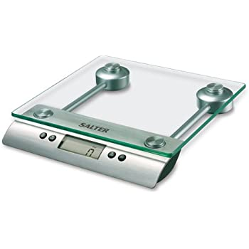 Salter Aquatronico Digital Kitchen Weighing Scales Stylish Glass Platform Silver Design Electronic Cooking Scale