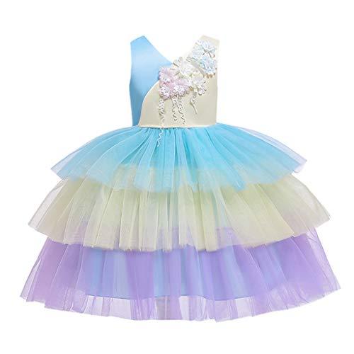 Hirolan Baby Mädchen Geburtstag Taufe Kleid Taufe Hochzeit Blumen Kleid Ärmellose Applikation Regenbogen Farbe passenden Bogen Prinzessin Gaze Kuchen Rock Kleid Rock