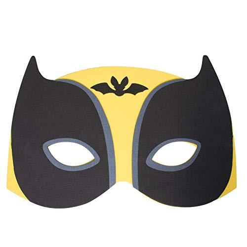 (Werbewas 1x Schaumstoff Masken mit Superheld in gelb Tiermotiv - als Karnevals, Halloween, Geburtstags-Party Kostüm)