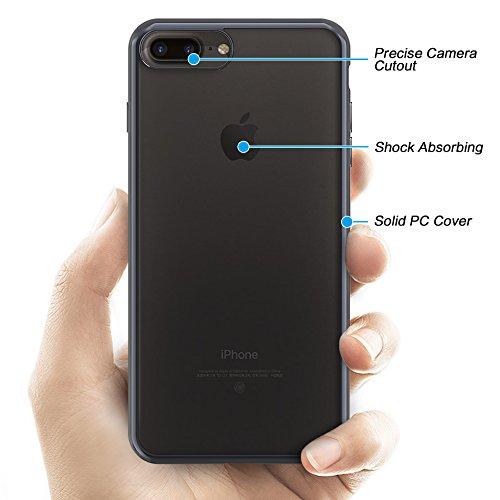 [2 Stück] OMOTON Schutzhülle für das iPhone 7 Plus (5.5 zoll), [Air Cushion TPU][wackelt nicht][Anti-Kratz], transparente Hülle in schwarz schwarz