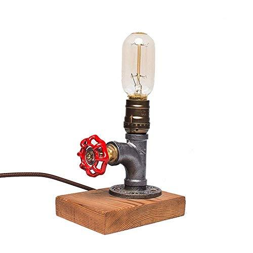 American Retro Wasserschlauch Desk Light Antique Steampunk aus Schmiedeeisen, Metallrohr, Desktop Light Wit Basis aus Holz Dekoration Studio, Dormitorio persönliches Geschenk Dimming Switch