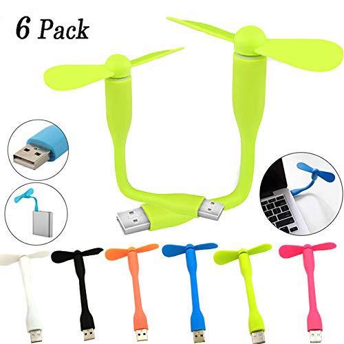 BESTZY USB Mini Fan,USB Powered Mini Cooling Fan USB Lüfter mit flexiblem für Notebook,Desktop-PC, Powerbank(6 Pack) - Portable Lüfter