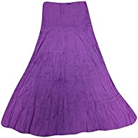 Mogul Interior Ladies Purple Gypsy Skirt A- Line Embroidered Bohemian Maxi Skirts S/M