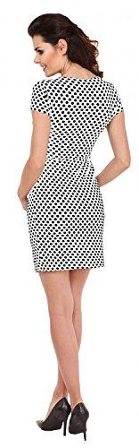 Zeta Ville - Maternité robe de grossesse à pois - manches courtes - femme - 018c Blanc à pois