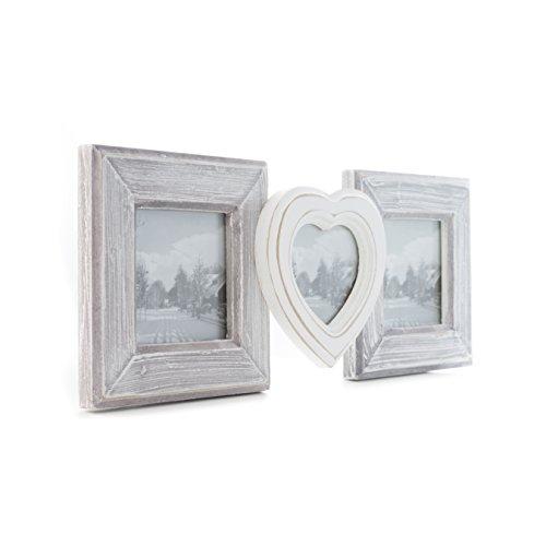 elbmöbel Bilderrahmen in weiß antik Collage aus Holz Shabby Vintage Rahmen Wandrahmen (16x30x3)