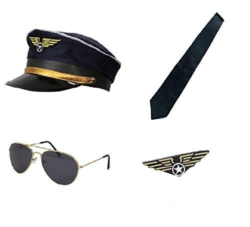 Captain Pilot Kit - Hat, Sunglasses, Aviator Pin Badge & Tie Fancy (Aviator Kostüm Kit)