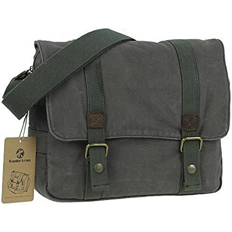 Koolertron - Lona bolso mensajero bolsa para hombre bolso de escuela