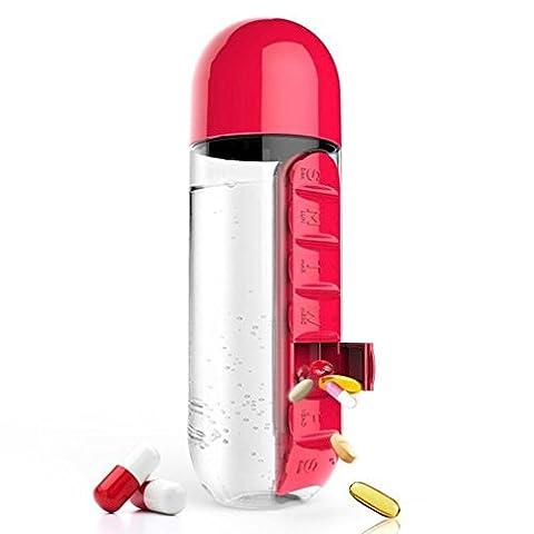 Sport Bouteille d'eau de voyage biberon, Jaminy 600ml Sport Bouteille d'eau avec Intégré Daily 7Daily Pill Box Vitamine Organiseur