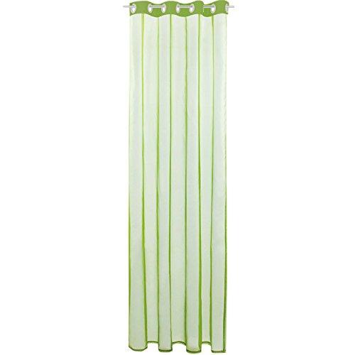 Gardine mit Ösen, Transparent Voile 140 x 145cm (Breite x Länge) in Grün - Olivgrün, Ösenschal in Vielen Weiteren Farben und Größen