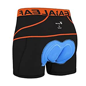 Baleaf Men's 3D Padded Bicycle Cycling Colored Underwear Shorts (Orange, S)