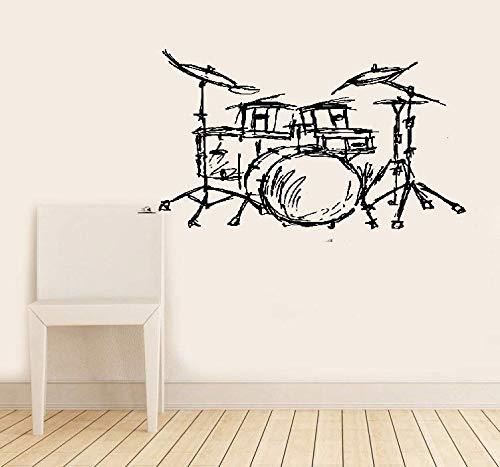 wandaufkleber 3d Wandtattoo Wohnzimmer Set Schlagzeug Silhouette Home Livingroom Mode Dekor Musikinstrument Schlagzeug Set Kits