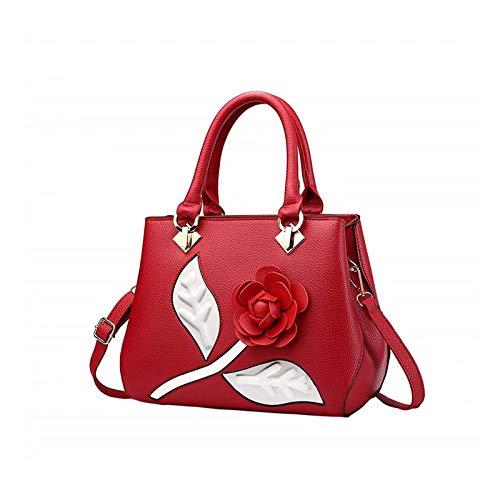7cd645bd9488 Roses Women Handbags Fashion Handbags for Women PU Leather Shoulder Bags  Tote Bags Purse(Red