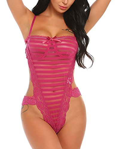 ssous sexy Frauen One Piece Dessous Sexy Outfits Nachtwäsche Spitze Transparentes Babydoll , farbe - Hellrot , Gr. X-Large (Sexy Nähe)