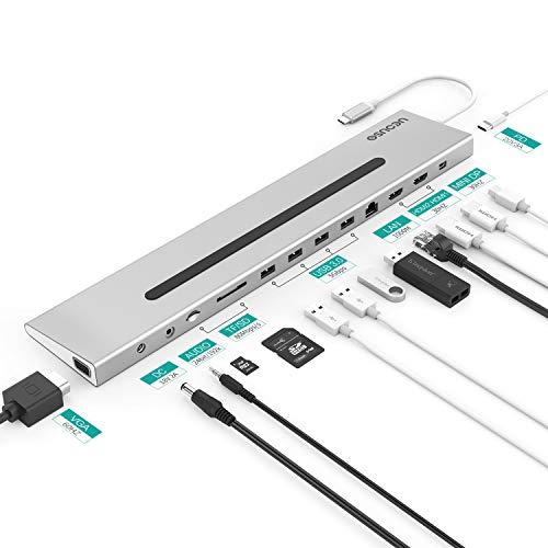Homtiky USB-C Docking Station Thunderbolt 3 Dock Universal Type C Hub Dock mit 2 4K HDMI Videoausgänge, 4K Mini Displayport, 1080P VGA, Gigabit 1000M LAN, USB C 3.1 Ladeanschluss 60W Silber