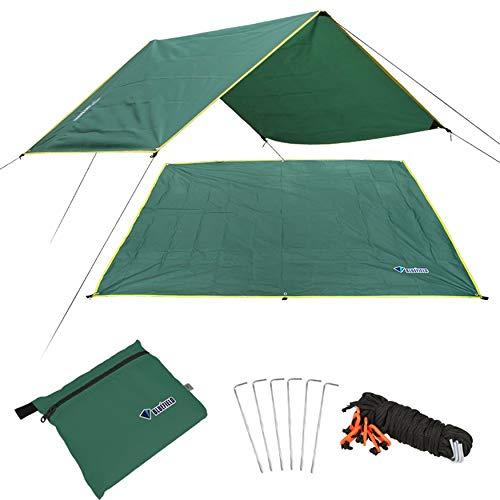 Yaoaomon 4-6 Persone Ultralight Tenda Impermeabile Multifunzionale Tenda Tarp Foglio di stuoia per Campeggio all\'aperto Escursionismo Picnic - Verde Scuro [S]