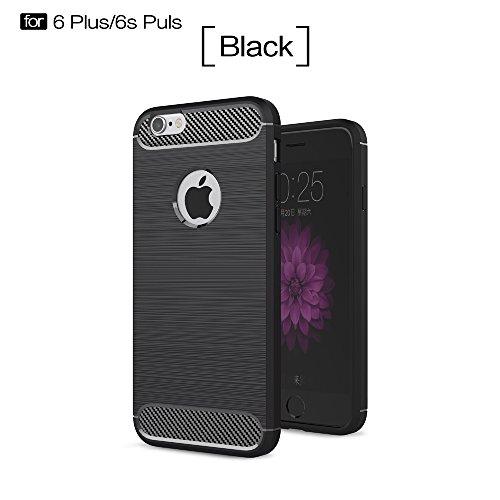 DBIT Apple iPhone 6 Plus/6S Plus Custodia ,Coperchio di Protezione Compatto in Fibra di Carbonio con Cassa Antiurto in Silicone Ultra Morbido e Leggero TPU Case Cover per Apple iPhone 6 Plus/6S Plus S Nero