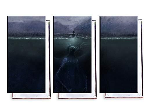 Unified Distribution Cthulhu unter dem Meer - Dreiteiler (120x80 cm) - Bilder & Kunstdrucke fertig auf Leinwand aufgespannt und in erstklassiger Druckqualität