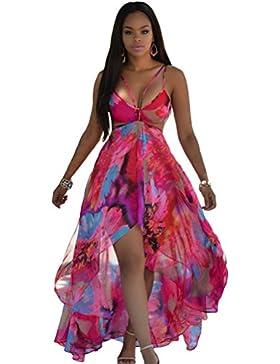 YiJee Vestito Lungo Donna Estivo Casual Elegante Bohemian Floreale Abito da  Spiaggia dab005cbb4f