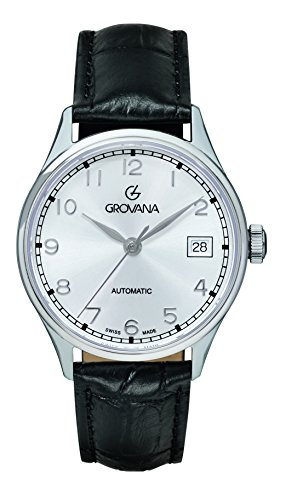 Grovana-Unisex-Automatic-Watch-with-Silver-Dial-Analogue-Display-and-Black-Leather-Strap-31902532