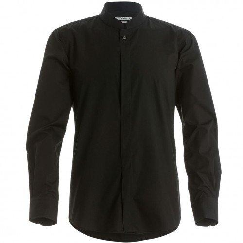 Kustom Kit - Camisa entallada de manga larga con cuello chino / mao Hombre Caballero - Trabajo/Fiesta/Verano (Mediana (M)/Negro)