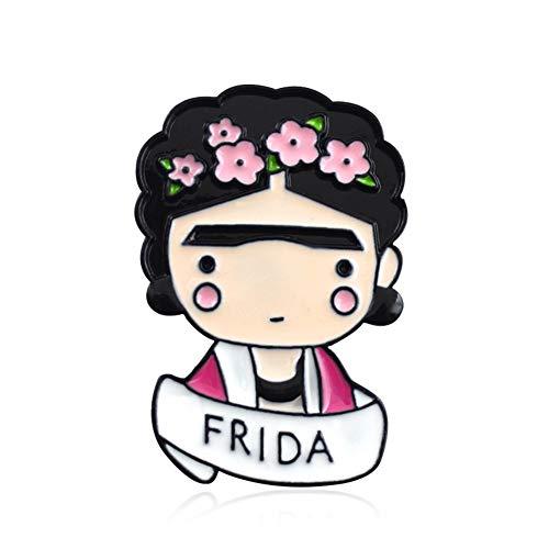 wonCacrostrans Frauen Brosche, niedliche Cartoon Mädchen Blumen Stirnband Brief Muster Revers Abzeichen Emaille Brosche Pink