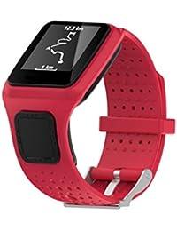 TomTom 1st Correa, Malloom Repuesto del gel de silicona banda correa para TomTom Multi Sport / Cardio GPS Watch Reloj (Rojo)