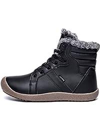46f7ace1f7cc Ywqwdae Mens schnüren Sich Ankle Boots Rutschfeste Fell gefütterte  Waterprooft große Schneeschuhe (Farbe   Schwarz