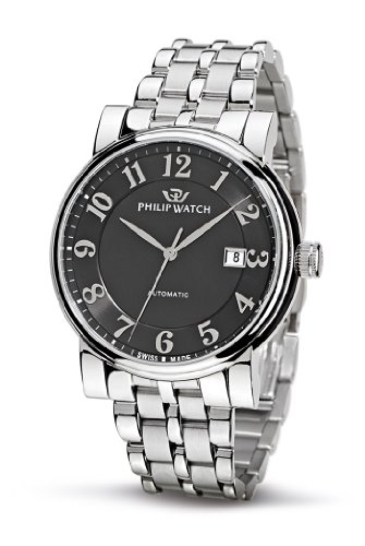 Philip Men's Wales Analogue Watch R8223193025 with Mechanical Movement, Black Dial and Stainless Steel Case