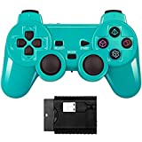 Wireless Double Shock Game Controller Compatible with PS Playstation Classic /PS1/PS2/PC (Bright green)