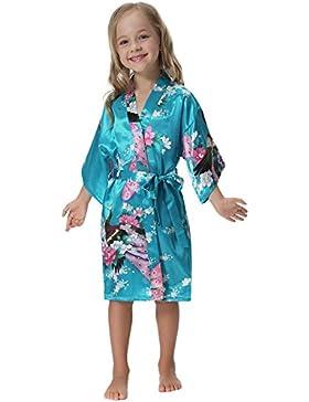 Aibrou Mädchen Morgenmantel Kimono Satin Nachtwäsche Bademantel für Kinder mit Blumenmuster