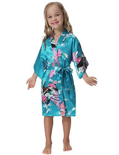 Aibrou kimono ragazza vestaglie accappatoio bambini pigiama bambina camicia da notte bambina in raso con cintura,pavone esotici,kimono bambina per piscina sauna spa hotel nozze 6-14 anni